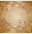 Vintage beige background with doodle flowers vector