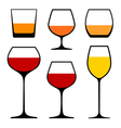 Wine glasses icons vector
