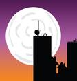 Buildings in the moonlight art color vector