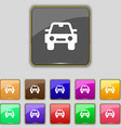 Auto icon sign set with eleven colored buttons for vector