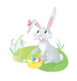 Spring hare with butterfly vector