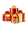 Red and gold gift boxes vector