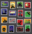 Large set of halloween postage stamps vector