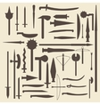 Medieval weaponry silhouette icons set perfect vector