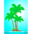 Tropical landscape with island wave sun and palm vector