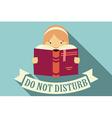 Girl reading a book do not disturb vector