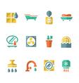 Set flat icons of bathroom vector