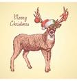 Sketch cute deer in vintage style vector