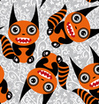 Cute tsartoon orange monster with a striped tail vector