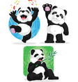 Panda set happy waving hand eating bamboo vector