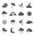 Set of black and white weather icons vector