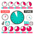 Clock - time icons set isolated on white vector