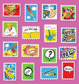 Collection of comic book style post stamps vector