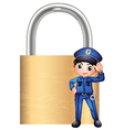 A police officer in front of the giant lock vector