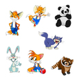 Animals fox rabbit panda raccoon cat set vector