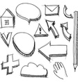 Set hand drawn icons black lines on white vector