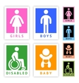 Toilet colored stickers new set vector