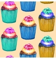 Seamless cupcakes pattern vector
