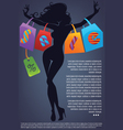 Commercial background with girl silhouette and sho vector