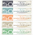 50 years anniversary retro banner set vector