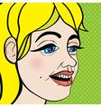 Pop art girl close up vector