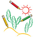 pencils draw cactus and sun in desert vector