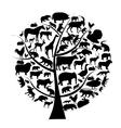Set of animals silhouette on tree vector