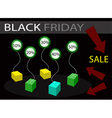 Black friday sale banner with percentages discount vector