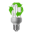 Energy saving bulb with recycle sign vector