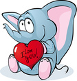 Cute elephant hold red heart - vector