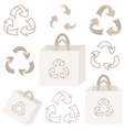 Eco recycle bag and sign collection vector