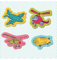 Set of baby boy plane stickers vector
