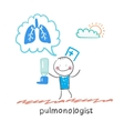 Pulmonologist pulmonologist with asthma spray says vector