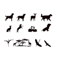 Silhouettes of wild animals and pets in black and vector