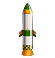 A green and yellow colored rocket vector