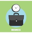Briefcase and clock icons vector
