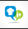 Wine galss and chef hat in message bubble vector