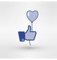 Hand holding heart baloon icon thumb up vector