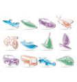 Different kind of transportation and travel icons vector