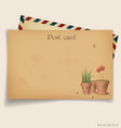 Vintage postcard envelope vector