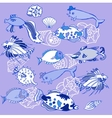 Background with blue fishes and cockleshells vector