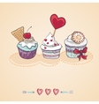 Birthday card with a cupcake vector