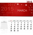 2015 calendar monthly calendar template for march vector