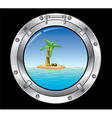 travel concept of metal porthole and palm t vector