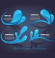 Water stickers and symbols on dark background vector