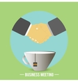 Handshake behind a cup of tea coffee vector