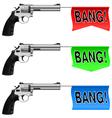 Guns with bang flags vector