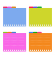 Four colorful lined spiral notepad papers vector