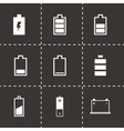Black battery icon set vector