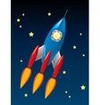 stylized retro rocket ship in space vector